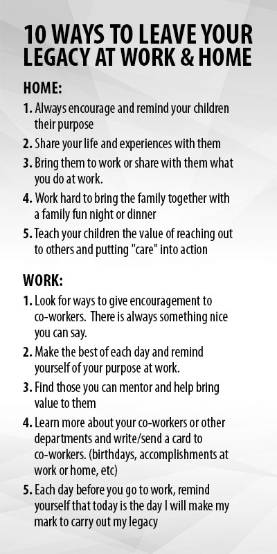 10 ways to leave your legacy
